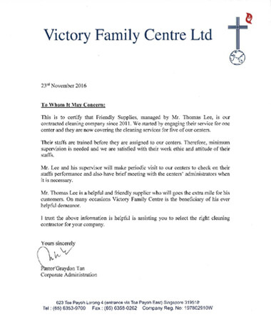 Testimonial from Victory Family Centre Ltd